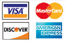 We accept Visa, Mastercard, Discover and Amex
